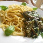 Spaghetti con Melanzana e Spinaci