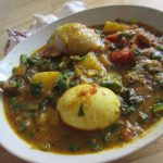 Spicy Chicken & Egg curry with Spring Onions