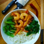 Thai rice noodles with shrimp in fish sauce