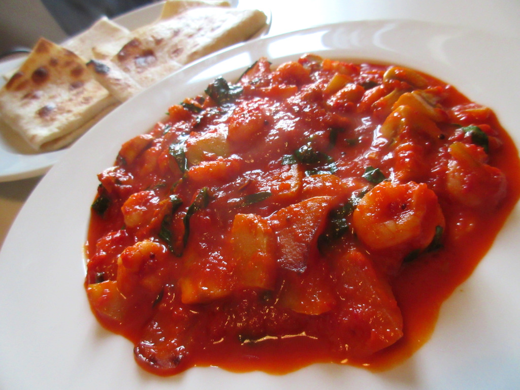Shrimps in red Paprika and Aubergine sauce