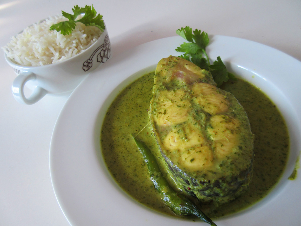 Fish in coriander and coconut curry