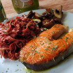 Riccioli al Barolo con Salmone e Fungi (Red wine pasta with salmon and mushrooms)