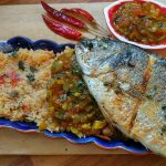 Fried Dorado with Portuguese tomato rice and Indian fish curry