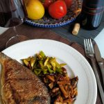 Mediterranean Dorado with Aubergine and Asparagus salad